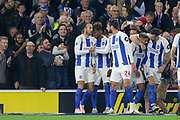 GOAL - Brighton and Hove Albion striker Glenn Murray (17) celebrates WITH Brighton and Hove Albion midfielder Davy Propper (24) 1-0 during the Premier League match between Brighton and Hove Albion and West Ham United at the American Express Community Stadium, Brighton and Hove, England on 5 October 2018.