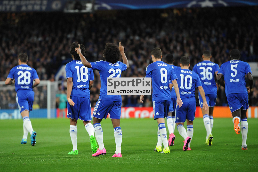 Chelseas Willian celebrates his goal during the Chelsea v Maccabi Tell-Aviv champions league match in the group stage.