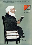 Andrew Carnegie  (1835-1918) Scottish-American industrialist and philanthropist. Public Libraries. Cartoon published Paris, 1903.