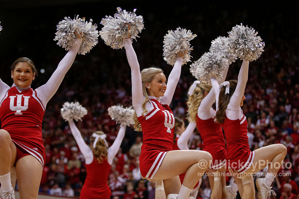 BLOOMINGTON, IN - JANUARY 28: An Indiana Hoosiers cheerleader is seen during the game is seen during the game against the Purdue Boilermakers at Assembly Hall on January 28, 2018 in Bloomington, Indiana. (Photo by Michael Hickey/Getty Images)