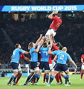 Yoann Maestri (France's second row) winning a French lineout during the Rugby World Cup Pool D match between France and Italy at Twickenham, Richmond, United Kingdom on 19 September 2015. Photo by Matthew Redman.
