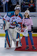 KELOWNA, CANADA - MARCH 03:  Second Star of the Game James Porter #1 of the Kelowna Rockets at the Kelowna Rockets game on March 03, 2018 at Prospera Place in Kelowna, British Columbia, Canada.  (Photo By Cindy Rogers/Nyasa Photography,  *** Local Caption ***