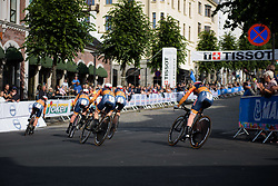 Boels Dolmans approach the cobbled climb with 4.5km to go at UCI Road World Championships Women's Team Time Trial 2017 a 42.5 km team time trial in Bergen, Norway on September 17, 2017. (Photo by Sean Robinson/Velofocus)