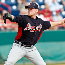 March 4, 2011; Viera, FL, USA; Atlanta Braves starting pitcher Brett Oberholtzer (69) during a spring training exhibition game against the Washington Nationals at Space Coast Stadium.  Mandatory Credit: Derick E. Hingle