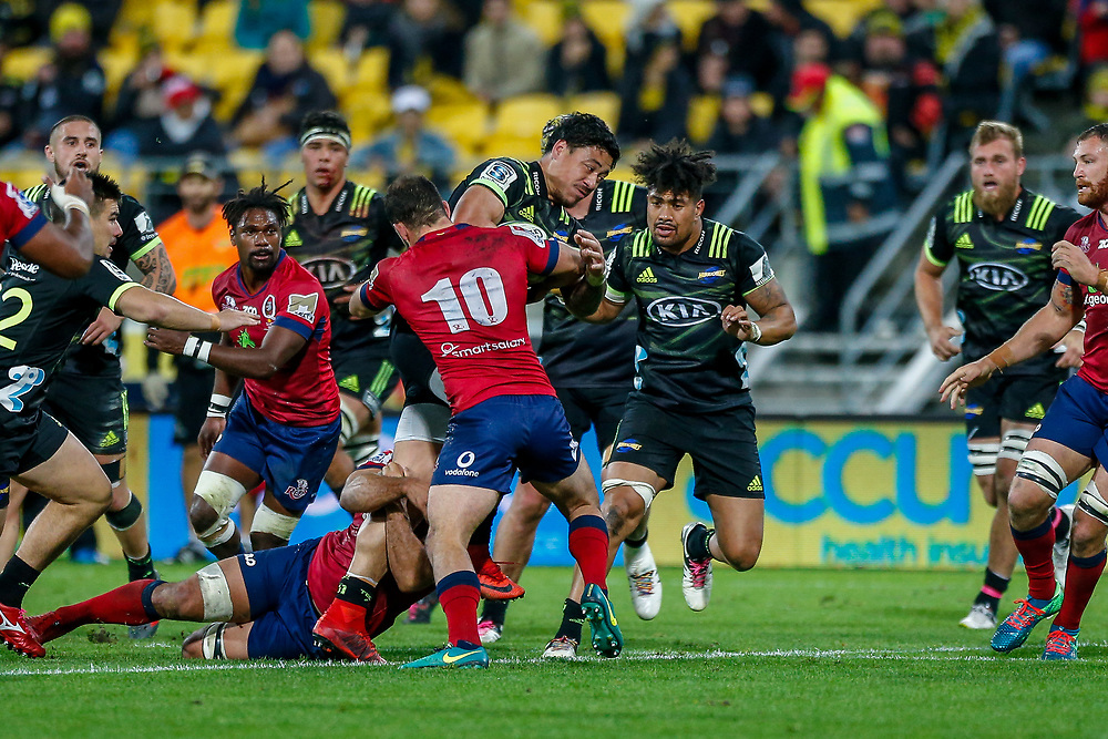 Ben Lam  during the Super rugby union game (Round 14) played between Hurricanes v Reds, on 18 May 2018, at Westpac Stadium, Wellington, New  Zealand.    Hurricanes won 38-34.
