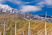 Wind turbines at San Gorgonio Pass Wind Farm under Mount Jacinto, Palm Springs, California USA