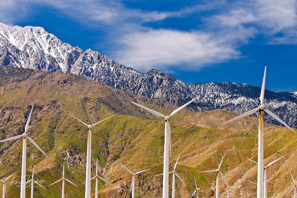Wind turbines at San Gorgonio Pass Wind Farm under Mount Jacinto, Palm Springs, California USA