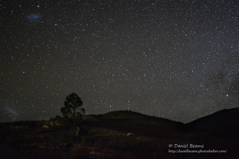 Night landscape in Moro Moro, Santa Cruz, Bolivia