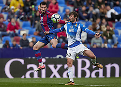 March 4, 2018 - Valencia, Valencia, Spain - Erick Cabaco (L) of Levante UD competes for the ball with Esteban Granero of RCD Espanyol during the La Liga match between Levante UD and RCD Espanyol at Ciutat de Valencia on March 4, 2018 in Valencia, Spain  (Credit Image: © David Aliaga/NurPhoto via ZUMA Press)
