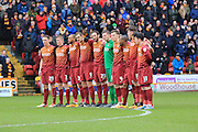Minutes Silence Yvonne Lawn Bradford FC during the Sky Bet League 1 match between Bradford City and Rochdale at the Coral Windows Stadium, Bradford, England on 20 February 2016. Photo by Daniel Youngs.