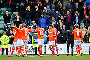 Luton Town players celebrate their 1-0 win over Plymouth after the final whistle in the Sky Bet League 2 match between Plymouth Argyle and Luton Town at Home Park, Plymouth, England on 19 March 2016. Photo by Graham Hunt.