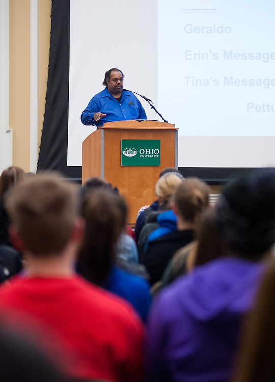 """In honor of Ohio University's Black History Month, Daryl Davis speaks about his experiences with the Ku Klux Klan in Baker Ballroom, Thursday, February 21, 2013. Davis is the author of """"Klan-Destine Relationships,"""" a nonfiction account of his journeys while infiltrating the minds of KKK members."""