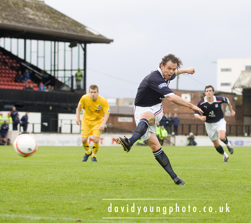 Dundee's Matt Lockwood fires in a penalty which was saved by Ayr United keeper Kevin Cuthbert - Ayr United v Dundee, IRN BRU Scottish Football League First Division at Somerset Park..© David Young.5 Foundry Place.Monifieth.Angus.DD5 4BB.Tel: 07765 252616.email: davidyoungphoto@gmail.com.http://www.davidyoungphoto.co.uk