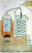 Distillation 1882.  Cross-section showing furnace heating a still.  Matter distilled is discharged through beak of the alembic and is condensed in the worm that runs through the refrigerator (cold water bath).  From 'Physics in Pictures' by Theodore Eckardt, London, 1882. Chromolithograph.