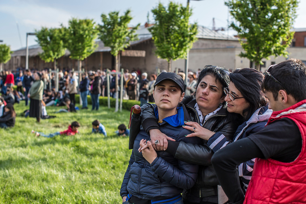 VAGHARSHAPAT, ARMENIA - APRIL 23: Crowds attend a canonization ceremony for victims of the Armenian genocide at the Mother See of Holy Etchmiadzin, a complex that serves as the administrative headquarters of the Armenian Apostolic Church, on April 23, 2015 in Vagharshapat, Armenia. Tomorrow will mark the one hundredth anniversary of events generally considered to be the start of a campaign of genocide against minority ethnic Armenians living in present-day eastern Turkey by the Ottoman government over fears of their allegiance during World War I. (Photo by Brendan Hoffman/Getty Images) *** Local Caption ***