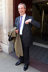 UKIP leader Nigel Farage celebrates his Local Election results in Westminster, Friday, 3rd May 2013.   Photo by: Stephen Lock / i-Images