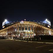 A exterior night time shot of Citi Field during the New York Mets Vs Miami Marlins MLB regular season baseball game at Citi Field, Queens, New York. USA. 18th April 2015. Photo Tim Clayton