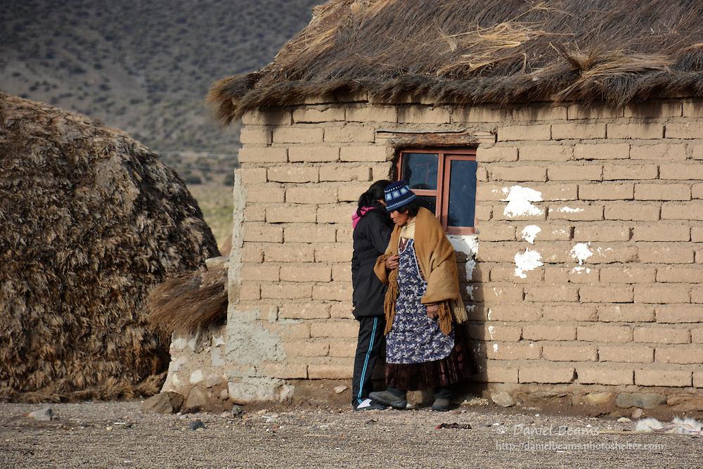 Rural dwelling and women, Sajama National Park, Bolivia