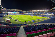 General view inside BT Murrayfield Stadium, Edinburgh, Scotland before the Guinness Pro 14 2019_20 match between Edinburgh Rugby and Scarlets on 26 October 2019.
