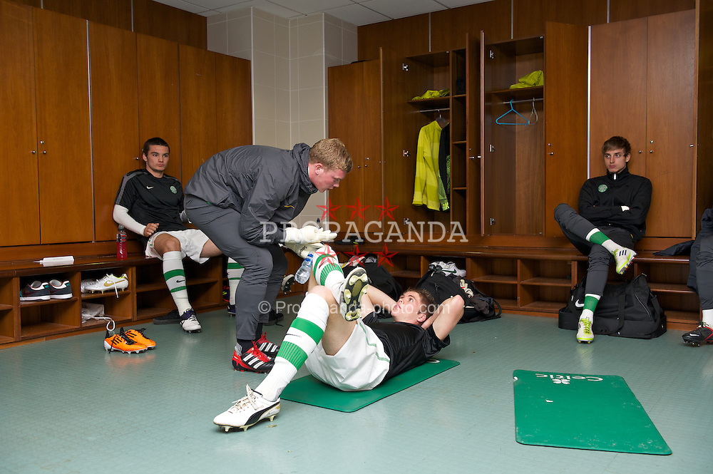 GLASGOW, SCOTLAND - Monday, November 7, 2011: Glasgow Celtic's Marcus Fraser relaxes in the dressing room ahead of the NextGen Series Group 1 match against Manchester City at Celtic Park. (Pic by David Rawcliffe/Propaganda)