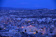 Goreme, Cappadocia with Mount Hasan in background, Turkey
