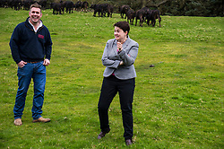 Pictured: Bufallo farm owner Steve Mitchell and Ruth Davidson<br /> <br /> The Scottish Conservative leader Ruth Davidson visited the Bufallo Farm in Fife today where she toured the facility and met  staff and the animals. She even took a ride on the friendly bullock, 007.<br /> <br /> Ger Harley | EEm 20 April 2016