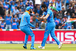 Jasprit Bumrah of India celebrates taking the wicket of Martin Guptill of New Zealand - Mandatory by-line: Robbie Stephenson/JMP - 09/07/2019 - CRICKET - Old Trafford - Manchester, England - India v New Zealand - ICC Cricket World Cup 2019 - Semi Final