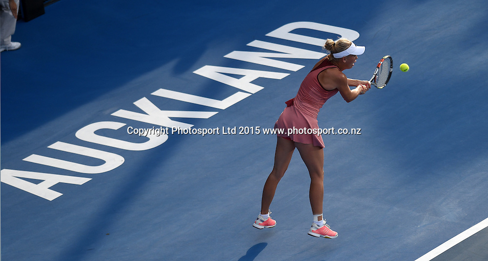 Denmark's Caroline Wozniacki in action during her second round singles match on Day 3 at the ASB Classic WTA International. Auckland, New Zealand. Wednesday 7 January 2015. Copyright photo: Andrew Cornaga/www.photosport.co.nz