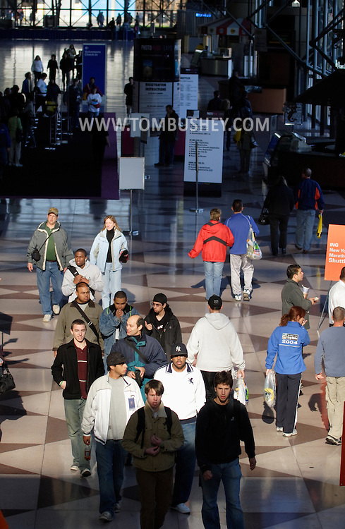 New York, N.Y. - People walk through the Jacob K. Javits Convention Center in Manhattan on Nov. 4, 2006.<br />