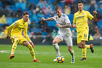 Real Madrid Toni Kroos and Villarreal Samuel Castillejo and Rodrigo Hernandez during La Liga match between Real Madrid and Villarreal CF at Santiago Bernabeu in Madrid, Spain. January 13, 2018. (ALTERPHOTOS/Borja B.Hojas)