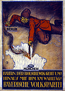 Bolshevik leaning across map of Europe and setting fire to Bavaria. 'The Bolshevik is coming! Throw him out on Election Day!' Bavarian People's Party poster, 1919,  the year of the Communist  Spartacus riots in Germany.