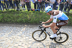 Stijn Vandenbergh (BEL) AG2R La Mondiale first to climb the Koppenberg during the 2019 Ronde Van Vlaanderen 270km from Antwerp to Oudenaarde, Belgium. 7th April 2019.<br /> Picture: Eoin Clarke | Cyclefile<br /> <br /> All photos usage must carry mandatory copyright credit (© Cyclefile | Eoin Clarke)