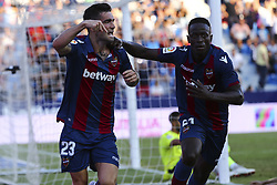 September 30, 2018 - Valencia, Spain - DAVID REMESEIRO JASON  of Levante UD (L) celebrate after scoring the 1-1 goal with his teammate EMMANUELE BOATENG   of Levante UD (R) during spanish La Liga match between Levante UD vs  Deportivo Alaves at Ciutat de Valencia  Stadium on September 30, 2018. (Credit Image: © Jose Miguel Fernandez/NurPhoto/ZUMA Press)