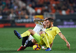 January 26, 2019 - Valencia, Valencia, Spain - Santi Mina of Valencia CF and Victor Ruiz of Villarreal CF during the La Liga Santander match between Valencia and Villarreal at Mestalla Stadium on Jenuary 26, 2019 in Valencia, Spain. (Credit Image: © Maria Jose Segovia/NurPhoto via ZUMA Press)