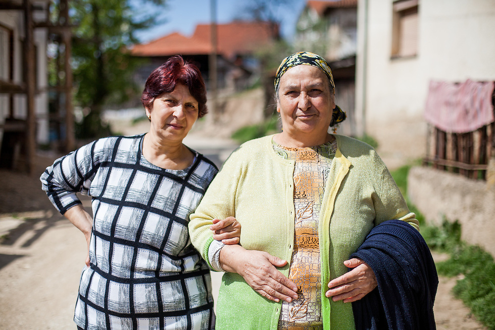 Portrait of two women in the streets of the city of Crnik, Macedonia.