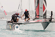 The Great Sound, Bermuda. 10th June 2017. Emirates Team New Zealand sailors congratulate one another after beating Artemis Racing (SWE) in the first race of the Louis Vuitton America's Cup Challenger playoff finals.