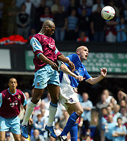 Photo. Chris Ratcliffe, Digitalsport<br /> NORWAY ONLY<br /> <br /> Ipswich Town v West Ham United. Division One Play-off Semi-final. 15/05/2004<br /> Marlon Harewood gets a rare chance on goal for West Ham as John McGreal is out jumped