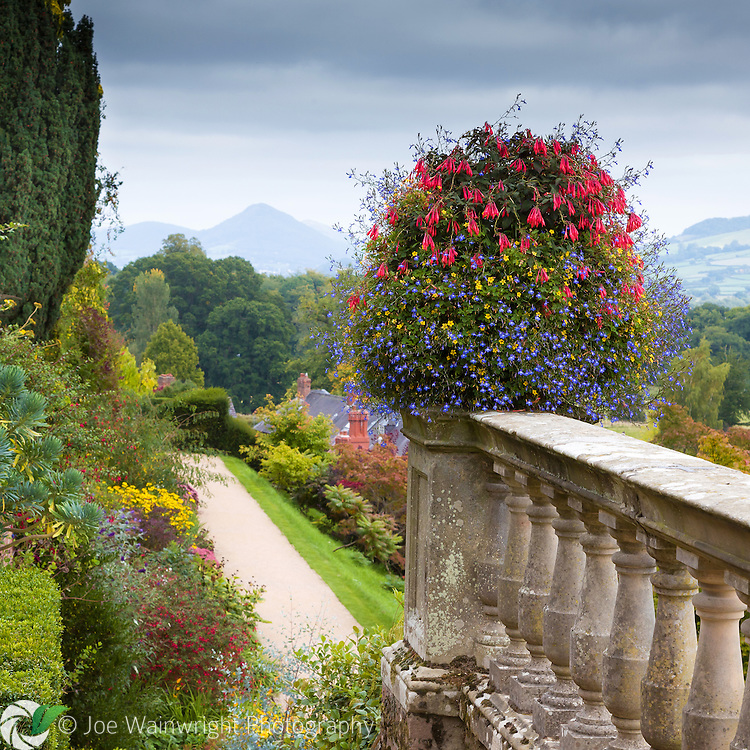 Distant hills are seen through the mists of a September afternoon, from the garden terraces of Powis Castle, Welshpool, Mid Wales