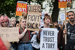 © Licensed to London News Pictures. 09/06/2017. London, UK. Demonstrators protest opposite Downing Street against Prime Minister Theresa May's decision to form a new government with the support of DUP MPs. The 2017 General Election resulted in a hung parliament in which no party won an outright majority. Photo credit: Rob Pinney/LNP