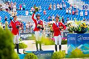 Prizegiving Jumping 1. Simone Blum - DSP Alice, 2. Martin Fuchs - Clooney, 3. Steve Guerdat - Bianca<br /> FEI World Equestrian Games Tryon 2018<br /> © DigiShots