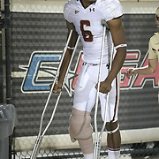 Boston College defensive back C.J. Jones (6) on crutches during an NCAA football game between the Boston College Eagles and the UCF Knights at Bright House Networks Stadium on Saturday, September 10, 2011 in Orlando, Florida. (AP Photo/Alex Menendez)