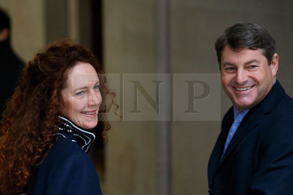 © Licensed to London News Pictures. 05/03/2016. London, UK. Charlie Brooks and Rebekah Brooks arriving at Rupert Murdoch and Jerry Hall's wedding ceremony at St Bride's Church in Fleet Street, London on Saturday, 5 March 2016. Photo credit: Tolga Akmen/LNP