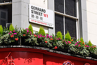 UK, London, China Town, street sign, Gerrard Street, English, Chinese, June, 2018, 201806234435<br /><br />Copyright Image from Victor Patterson, 54 Dorchester Park, <br />Belfast, UK, BT9 6RJ<br /><br />t1: +44 28 9066 1296 (from Rep of Ireland 048 9066 1296)<br />t2: +44 28 9002 2446 (from Rep of Ireland 048 9002 2446)<br />m: +44 7802 353836<br /><br />victorpatterson@me.com<br />victorpattersonbelfast@gmail.com<br /><br />Please see my Terms and Conditions of Use at victorpatterson.com. It is IMPORTANT that you familiarise yourself with them.<br /><br />Images used on the Internet incur an additional cost and must be visibly watermarked i.e. ©Victor Patterson within the body of the image and copyright metadata must not be deleted. Images used on the Internet have a size restriction of 4kbs and are chargeable at rates available at victorpatterson.com.<br /><br />This image is available only for the use of the download recipient i.e. television station, newspaper, magazine, book publisher, etc, and must not be passed on to any third party. It is also downloaded on condition that each and every usage is notified within 7 days to victorpatterson@me.com<br /><br />The right of Victor Patterson (or the named photographer) to be identified as the author is asserted in accordance with The Copyright Designs And Patents Act (1988). All moral rights are asserted.