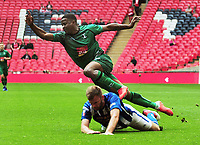 Football - 2019 Buildbase FA Vase Final - Chertsey Town vs. Cray Valley Paper Mills<br /> <br /> Kevin Lisbie of Cray dives over the top of Mason Welch - Turner, at Wembley Stadium.<br /> <br /> COLORSPORT/ANDREW COWIE