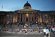 13.AUGUST.2013. LONDON<br /> <br /> SCOTTISH FOOTBALL FANS TAKE OVER LONDON'S TRAFALGAR SQUARE AHEAD OF ENGLAND VS. SCOTLAND AT WEMBLEY STADIUM<br /> <br /> BYLINE: EDBIMAGEARCHIVE.CO.UK<br /> <br /> *THIS IMAGE IS STRICTLY FOR UK NEWSPAPERS AND MAGAZINES ONLY*<br /> *FOR WORLD WIDE SALES AND WEB USE PLEASE CONTACT EDBIMAGEARCHIVE - 0208 954 5968*