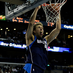 12 April 2009: Dallas Mavericks forward Dirk Nowitzki (41) dunks the ball during 102-92 victory by the New Orleans Hornets over the Dallas Mavericks on Easter Sunday at the New Orleans Arena in New Orleans, Louisiana.