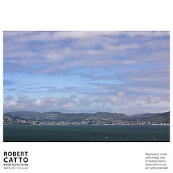 Wellington city's shoreline and skyline seen from Somes Island, Wellington, New Zealand.<br />