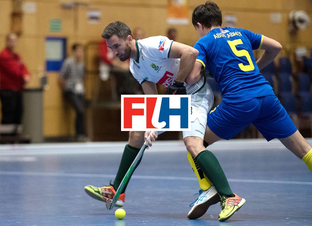 BERLIN - Indoor Hockey World Cup<br /> Kazakhstan - South Africa<br /> foto: Wade Paton and Ilgam Abdulabayev <br /> WORLDSPORTPICS COPYRIGHT FRANK UIJLENBROEK
