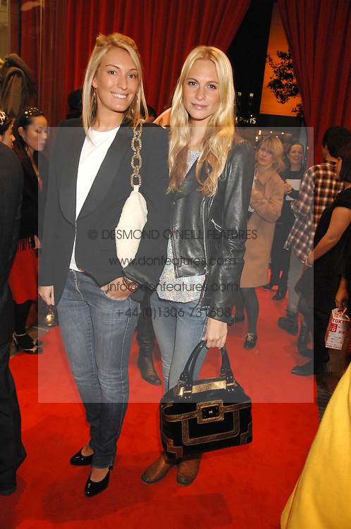 Left to right, OLIVIA BUCKINGHAM and POPPY DELEVINGNE at a party to celebrate the opening of the new Uniqlo store at 331 Oxford Street, London W1 on 6th November 2007.<br />