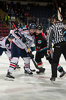 KELOWNA, CANADA - DECEMBER 5: Nolan Yaremko #22 of the Tri-City Americans collide after the face off against Kyle Topping #24 of the Kelowna Rockets on December 5, 2018 at Prospera Place in Kelowna, British Columbia, Canada.  (Photo by Marissa Baecker/Shoot the Breeze)